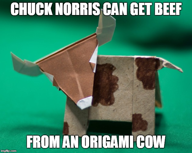 Chuck Norris Origami | CHUCK NORRIS CAN GET BEEF FROM AN ORIGAMI COW | image tagged in chuck norris,origami,memes | made w/ Imgflip meme maker