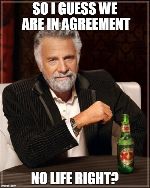 The Most Interesting Man In The World Meme | SO I GUESS WE ARE IN AGREEMENT NO LIFE RIGHT? | image tagged in memes,the most interesting man in the world | made w/ Imgflip meme maker