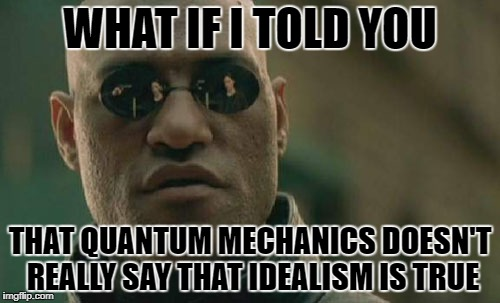 Matrix Morpheus Meme | WHAT IF I TOLD YOU THAT QUANTUM MECHANICS DOESN'T REALLY SAY THAT IDEALISM IS TRUE | image tagged in memes,matrix morpheus | made w/ Imgflip meme maker