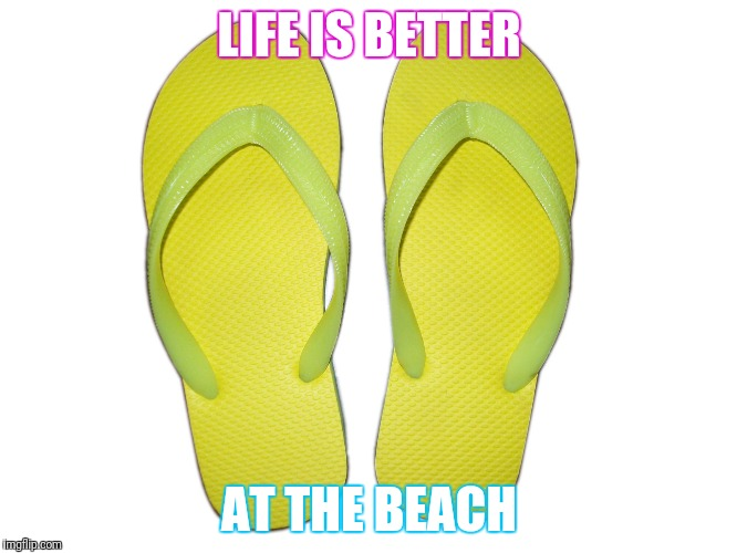 Flip Flops | LIFE IS BETTER AT THE BEACH | image tagged in flip flops | made w/ Imgflip meme maker