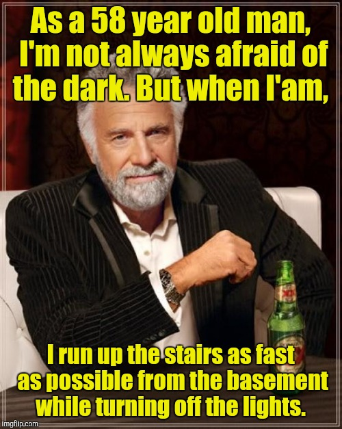 The Most Interesting Man In The World Meme | As a 58 year old man, I'm not always afraid of the dark. But when I'am, I run up the stairs as fast as possible from the basement while turn | image tagged in memes,the most interesting man in the world | made w/ Imgflip meme maker