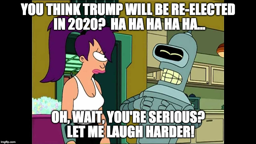 Futurama Bender Let Me Laugh Even Harder | YOU THINK TRUMP WILL BE RE-ELECTED IN 2020?  HA HA HA HA HA... OH, WAIT, YOU'RE SERIOUS?  LET ME LAUGH HARDER! | image tagged in futurama bender let me laugh even harder | made w/ Imgflip meme maker