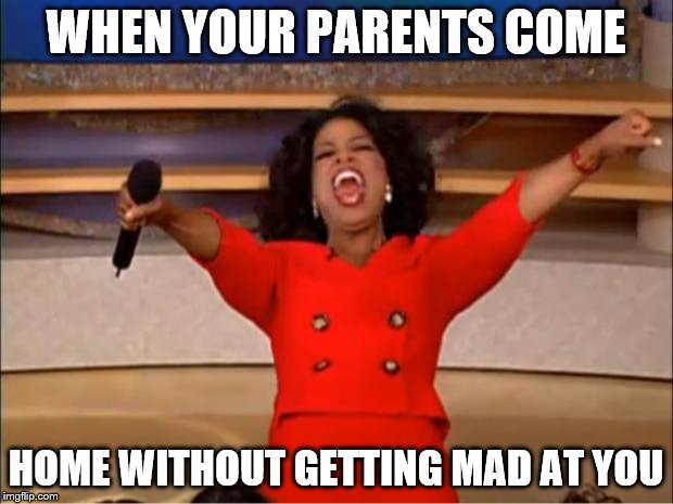 Oprah You Get A Meme | WHEN YOUR PARENTS COME HOME WITHOUT GETTING MAD AT YOU | image tagged in memes,oprah you get a | made w/ Imgflip meme maker