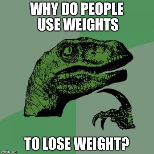 A lot of us are doing this now to try to make our resolutions from last new year! | WHY DO PEOPLE USE WEIGHTS TO LOSE WEIGHT? | image tagged in memes,philosoraptor | made w/ Imgflip meme maker