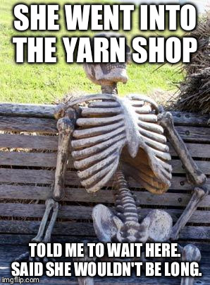 Waiting Skeleton Meme | SHE WENT INTO THE YARN SHOP TOLD ME TO WAIT HERE. SAID SHE WOULDN'T BE LONG. | image tagged in memes,waiting skeleton | made w/ Imgflip meme maker