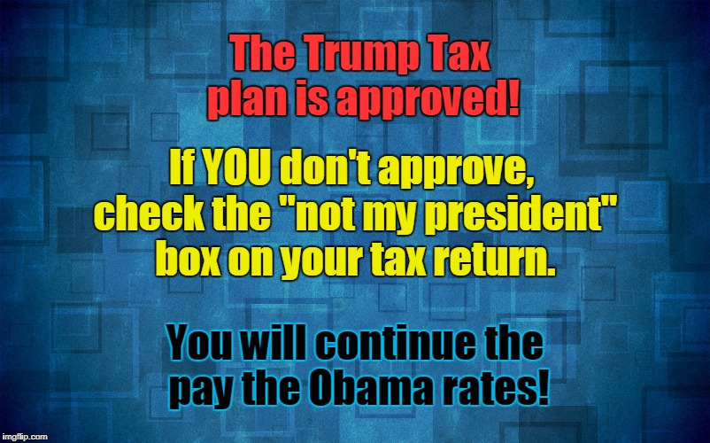 "Trump tax plan approved! | The Trump Tax plan is approved! You will continue the pay the Obama rates! If YOU don't approve, check the ""not my president"" box on your ta 