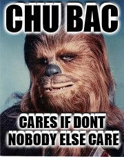 Arrrrgggghhhhheeee  | CHU BAC CARES IF DONT NOBODY ELSE CARE | image tagged in chewbaccolipse now,chewy dog treats,star wars meme | made w/ Imgflip meme maker