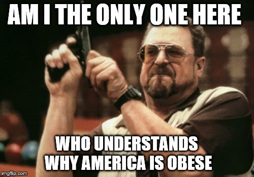 Am I The Only One Around Here Meme | AM I THE ONLY ONE HERE WHO UNDERSTANDS WHY AMERICA IS OBESE | image tagged in memes,am i the only one around here | made w/ Imgflip meme maker