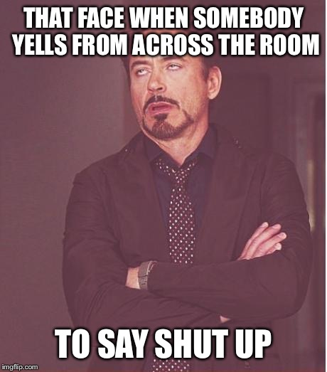 Face You Make Robert Downey Jr Meme | THAT FACE WHEN SOMEBODY YELLS FROM ACROSS THE ROOM TO SAY SHUT UP | image tagged in memes,face you make robert downey jr | made w/ Imgflip meme maker