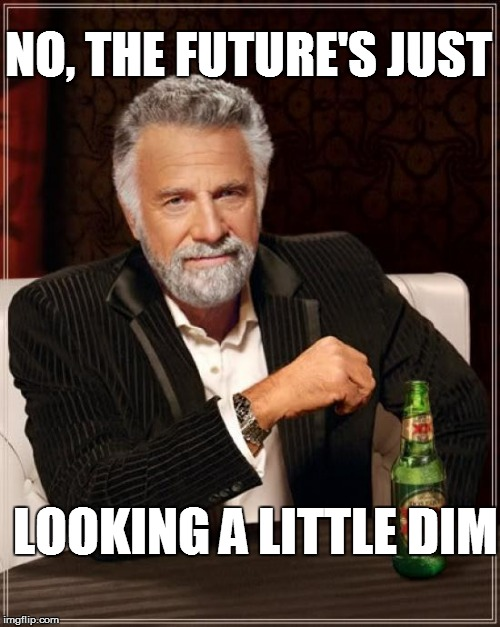 The Most Interesting Man In The World Meme | NO, THE FUTURE'S JUST LOOKING A LITTLE DIM | image tagged in memes,the most interesting man in the world | made w/ Imgflip meme maker
