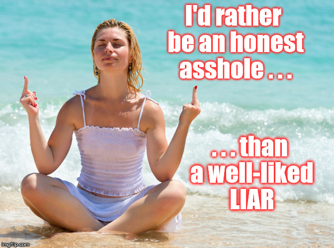 give no fucks | I'd rather be an honest asshole . . . . . . than a well-liked LIAR | image tagged in no fucks to give | made w/ Imgflip meme maker