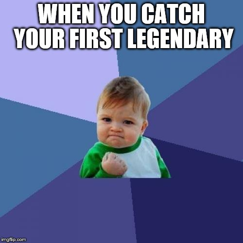 Success Kid Meme | WHEN YOU CATCH YOUR FIRST LEGENDARY | image tagged in memes,success kid | made w/ Imgflip meme maker
