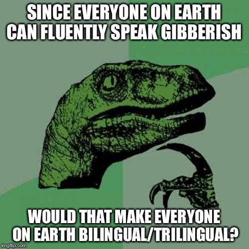 Gibberish Language  | SINCE EVERYONE ON EARTH CAN FLUENTLY SPEAK GIBBERISH WOULD THAT MAKE EVERYONE ON EARTH BILINGUAL/TRILINGUAL? | image tagged in memes,philosoraptor,language | made w/ Imgflip meme maker