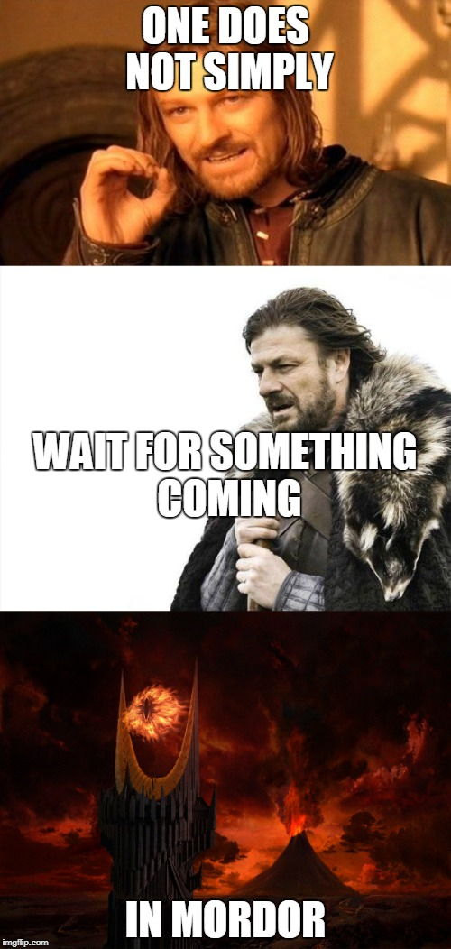 ONE DOES NOT SIMPLY IN MORDOR WAIT FOR SOMETHING COMING | image tagged in memes,sean bean,multiple meme | made w/ Imgflip meme maker