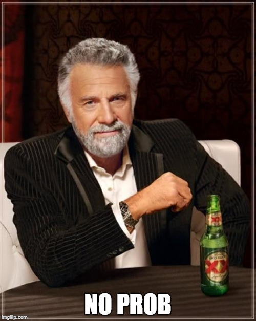 The Most Interesting Man In The World Meme | NO PROB | image tagged in memes,the most interesting man in the world | made w/ Imgflip meme maker