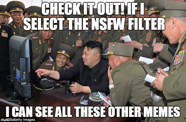 kim jong un's computer  | CHECK IT OUT! IF I SELECT THE NSFW FILTER I CAN SEE ALL THESE OTHER MEMES | image tagged in kim jong un's computer | made w/ Imgflip meme maker