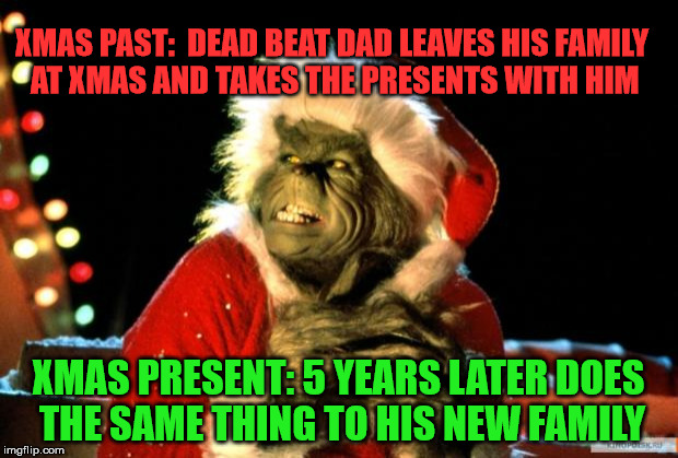Funny things dead beats do. The real grinch hold back on love and xmas presents | XMAS PAST:  DEAD BEAT DAD LEAVES HIS FAMILY AT XMAS AND TAKES THE PRESENTS WITH HIM XMAS PRESENT: 5 YEARS LATER DOES THE SAME THING TO HIS N | image tagged in grinch deadbeat dad no presents no love no phone calls no visits | made w/ Imgflip meme maker