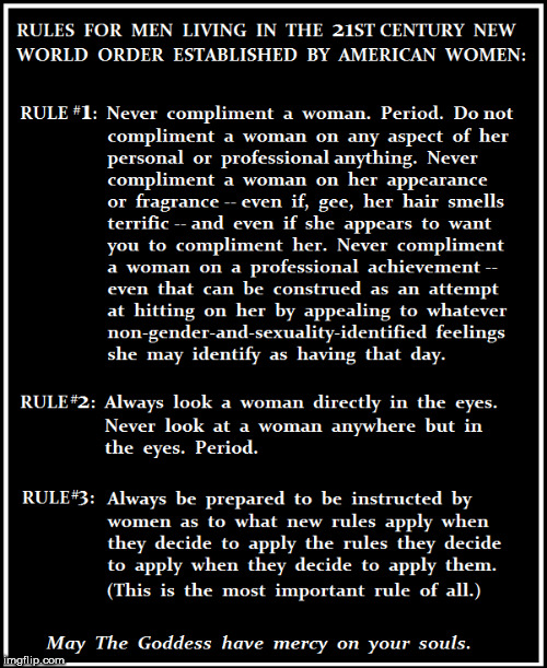 Rules for Men Living in The New World Order as Established by Women | image tagged in women,men,sexual harassment | made w/ Imgflip meme maker