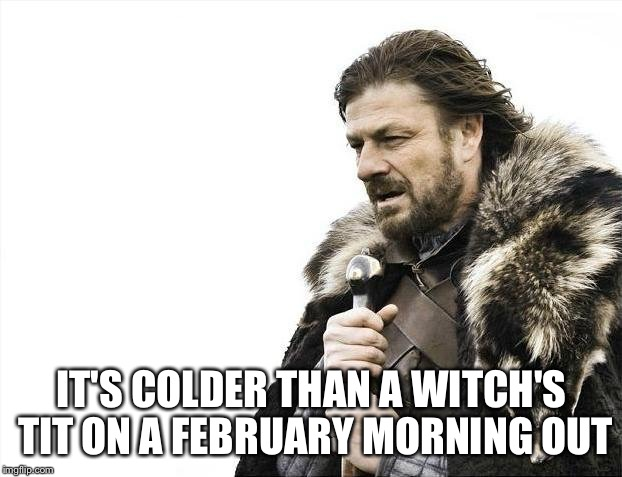 Brace Yourselves X is Coming Meme | IT'S COLDER THAN A WITCH'S TIT ON A FEBRUARY MORNING OUT | image tagged in memes,brace yourselves x is coming | made w/ Imgflip meme maker
