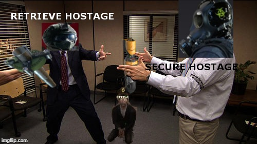 Rainbow Six Siege: Hostage | image tagged in rainbow six siege,hostage,fuze,smoke | made w/ Imgflip meme maker