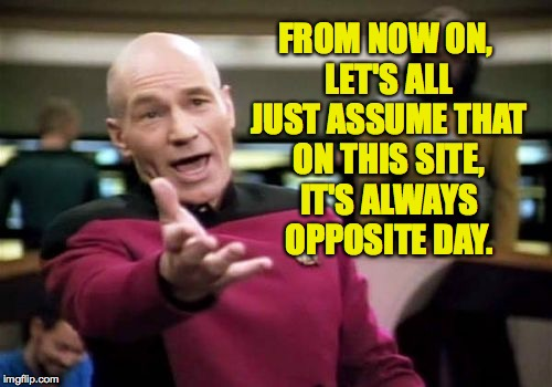 When every day feels like opposite day! | FROM NOW ON, LET'S ALL JUST ASSUME THAT ON THIS SITE, IT'S ALWAYS OPPOSITE DAY. | image tagged in memes,picard wtf,opposite day | made w/ Imgflip meme maker