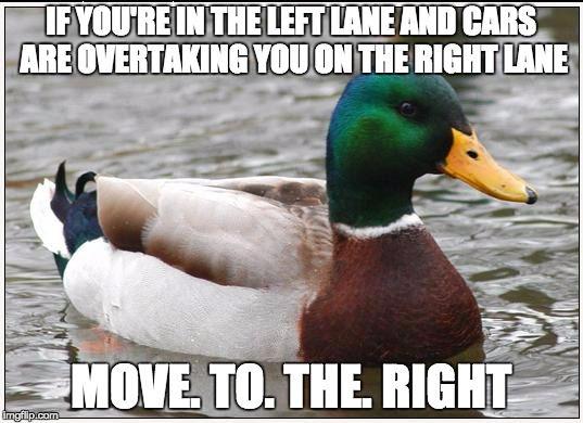 Actual Advice Mallard | IF YOU'RE IN THE LEFT LANE AND CARS ARE OVERTAKING YOU ON THE RIGHT LANE MOVE. TO. THE. RIGHT | image tagged in memes,actual advice mallard,AdviceAnimals | made w/ Imgflip meme maker
