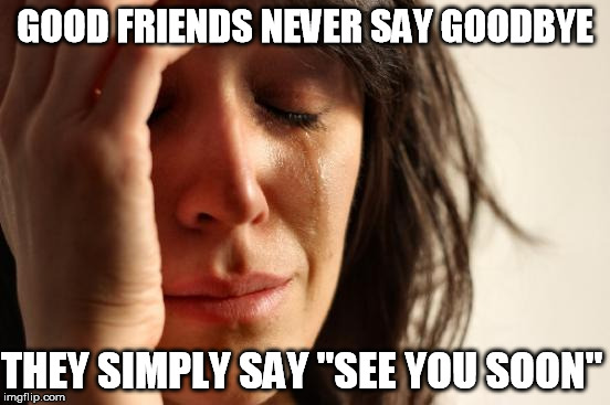 First World Problems Meme | GOOD FRIENDS NEVER SAY GOODBYE THEY SIMPLY SAY ''SEE YOU SOON'' | image tagged in memes,first world problems | made w/ Imgflip meme maker