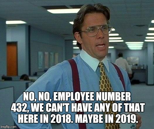 Can't have that | NO, NO, EMPLOYEE NUMBER 432, WE CAN'T HAVE ANY OF THAT HERE IN 2018. MAYBE IN 2019. | image tagged in memes,that would be great,cant,have,that,here | made w/ Imgflip meme maker