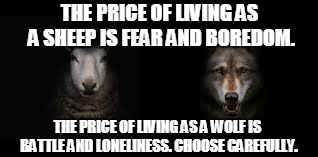 THE PRICE OF LIVING AS A SHEEP IS FEAR AND BOREDOM. THE PRICE OF LIVING AS A WOLF IS BATTLE AND LONELINESS. CHOOSE CAREFULLY. | image tagged in wolf,sheep,inspirational memes | made w/ Imgflip meme maker