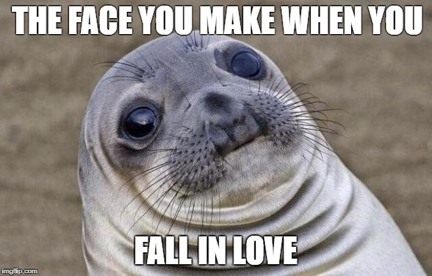 Awkward Moment Sealion Meme | THE FACE YOU MAKE WHEN YOU FALL IN LOVE | image tagged in memes,awkward moment sealion | made w/ Imgflip meme maker