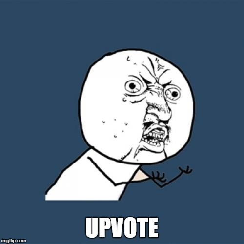 Y U No Meme | UPVOTE | image tagged in memes,y u no | made w/ Imgflip meme maker