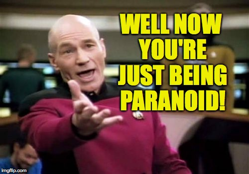 Picard Wtf Meme | WELL NOW YOU'RE JUST BEING PARANOID! | image tagged in memes,picard wtf | made w/ Imgflip meme maker