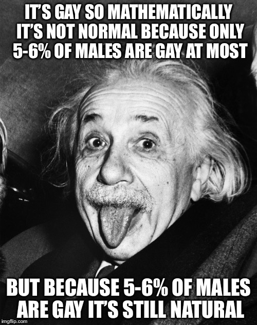 Einstein | IT'S GAY SO MATHEMATICALLY IT'S NOT NORMAL BECAUSE ONLY 5-6% OF MALES ARE GAY AT MOST BUT BECAUSE 5-6% OF MALES ARE GAY IT'S STILL NATURAL | image tagged in einstein | made w/ Imgflip meme maker