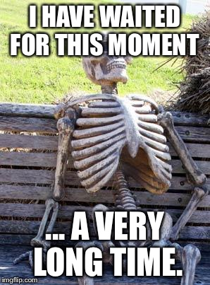 Waiting Skeleton Meme | I HAVE WAITED FOR THIS MOMENT ... A VERY LONG TIME. | image tagged in memes,waiting skeleton | made w/ Imgflip meme maker