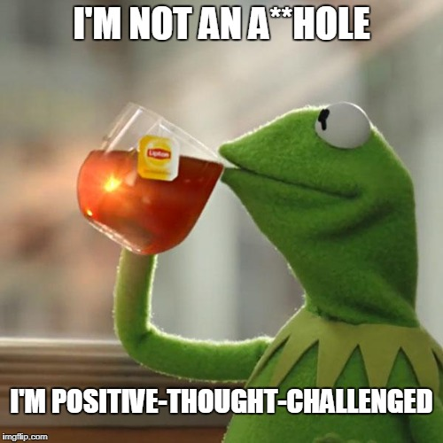 You know we all have to be very PC these days. | I'M NOT AN A**HOLE I'M POSITIVE-THOUGHT-CHALLENGED | image tagged in memes,but thats none of my business,kermit the frog,positive thinking,political correctness | made w/ Imgflip meme maker