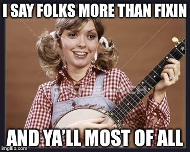 Country Gal | I SAY FOLKS MORE THAN FIXIN AND YA'LL MOST OF ALL | image tagged in country gal | made w/ Imgflip meme maker