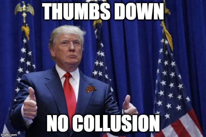 THUMBS DOWN NO COLLUSION | image tagged in memes | made w/ Imgflip meme maker