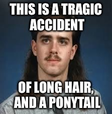 My hair everyday | THIS IS A TRAGIC ACCIDENT OF LONG HAIR, AND A PONYTAIL | image tagged in bad hair | made w/ Imgflip meme maker