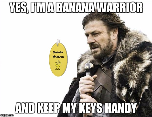 Brace Yourselves X is Coming Meme | YES, I'M A BANANA WARRIOR AND KEEP MY KEYS HANDY | image tagged in memes,brace yourselves x is coming | made w/ Imgflip meme maker
