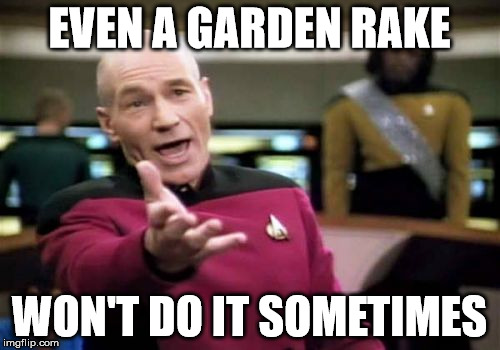 Picard Wtf Meme | EVEN A GARDEN RAKE WON'T DO IT SOMETIMES | image tagged in memes,picard wtf | made w/ Imgflip meme maker