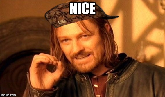 One Does Not Simply Meme | NICE | image tagged in memes,one does not simply,scumbag | made w/ Imgflip meme maker