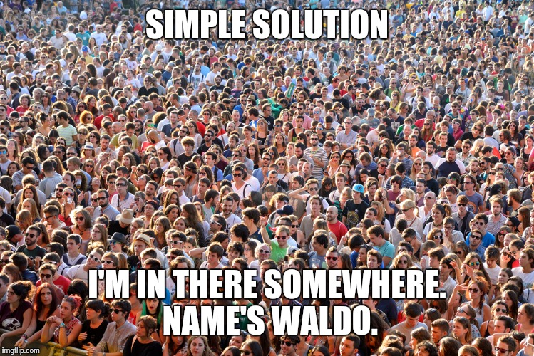 SIMPLE SOLUTION I'M IN THERE SOMEWHERE. NAME'S WALDO. | made w/ Imgflip meme maker