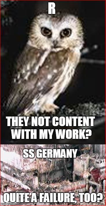 R QUITE A FAILURE, TOO? THEY NOT CONTENT WITH MY WORK? SS GERMANY | made w/ Imgflip meme maker