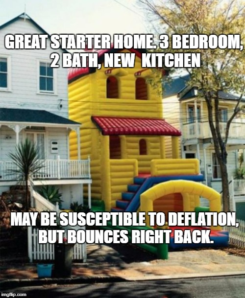 Bounce House | GREAT STARTER HOME. 3 BEDROOM, 2 BATH, NEW  KITCHEN MAY BE SUSCEPTIBLE TO DEFLATION, BUT BOUNCES RIGHT BACK. | image tagged in bounce house | made w/ Imgflip meme maker