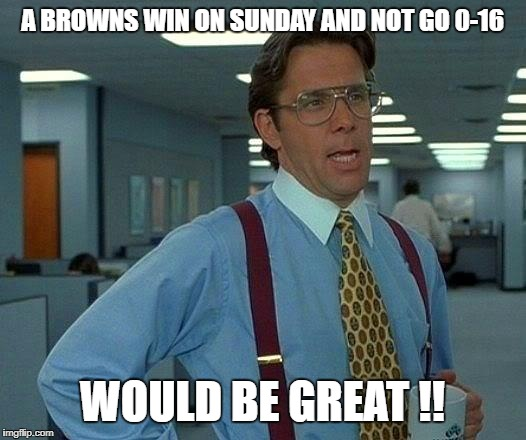 That Would Be Great Meme | A BROWNS WIN ON SUNDAY AND NOT GO 0-16 WOULD BE GREAT !! | image tagged in memes,that would be great | made w/ Imgflip meme maker
