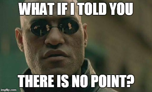 Matrix Morpheus Meme | WHAT IF I TOLD YOU THERE IS NO POINT? | image tagged in memes,matrix morpheus | made w/ Imgflip meme maker