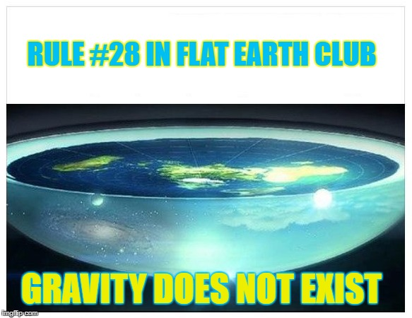 Gravity does not exist. | RULE #28 IN FLAT EARTH CLUB GRAVITY DOES NOT EXIST | image tagged in flat earth dome,gravity,flat earth,rule 28,flat earth club | made w/ Imgflip meme maker