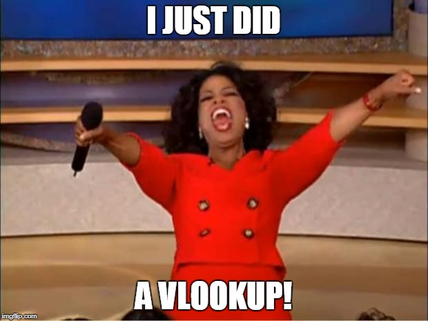 Oprah You Get A Meme | I JUST DID A VLOOKUP! | image tagged in memes,oprah you get a | made w/ Imgflip meme maker