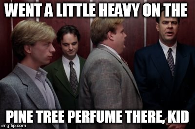 WENT A LITTLE HEAVY ON THE PINE TREE PERFUME THERE, KID | image tagged in tommy boy | made w/ Imgflip meme maker