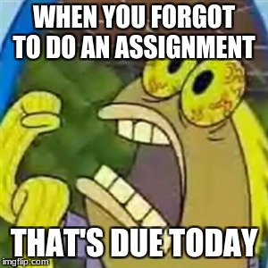 CHOCOLATE SpongeBob meme | WHEN YOU FORGOT TO DO AN ASSIGNMENT THAT'S DUE TODAY | image tagged in chocolate spongebob meme | made w/ Imgflip meme maker